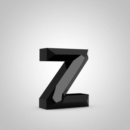 Black letter Z lowercase. Chiseled glossy font isolated on white. 3d rendered alphabet. 写真素材