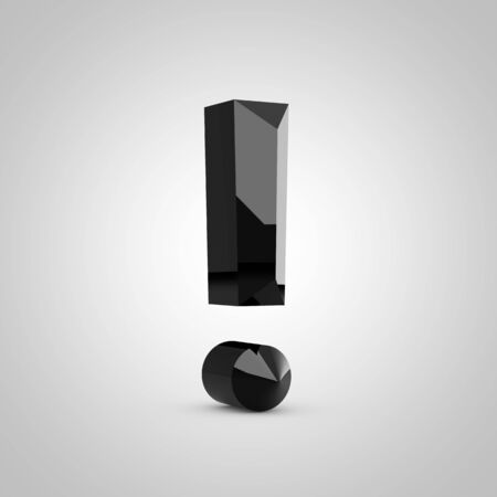 Black exclamation point symbol. Chiseled glossy font isolated on white. 3d rendered alphabet.