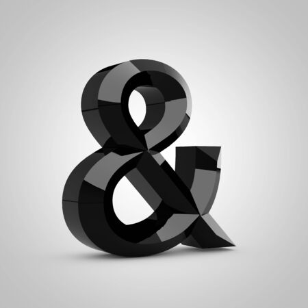 Black ampersand symbol. Chiseled glossy font isolated on white. 3d rendered alphabet. 写真素材
