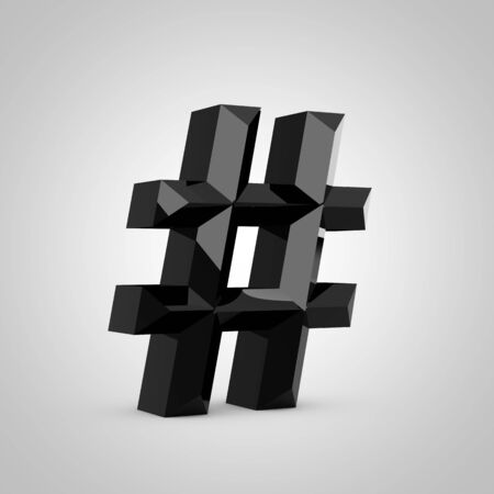 Black hashtag symbol. Chiseled glossy font isolated on white. 3d rendered alphabet.