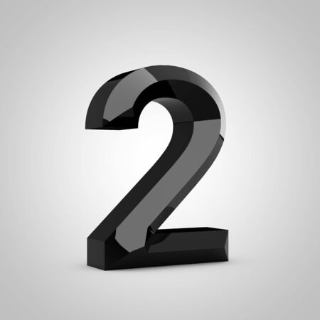 Black number 2. Chiseled glossy font isolated on white. 3d rendered alphabet. 写真素材