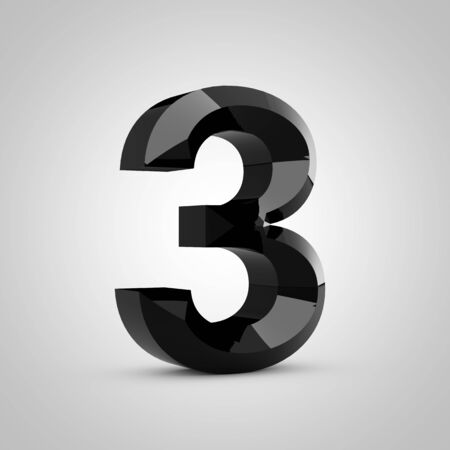 Black number 3. Chiseled glossy font isolated on white. 3d rendered alphabet. 写真素材