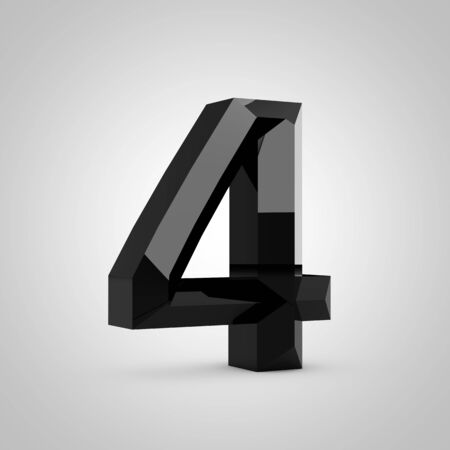 Black number 4. Chiseled glossy font isolated on white. 3d rendered alphabet. 写真素材