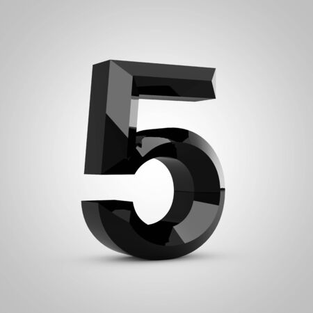 Black number 5. Chiseled glossy font isolated on white. 3d rendered alphabet. 写真素材