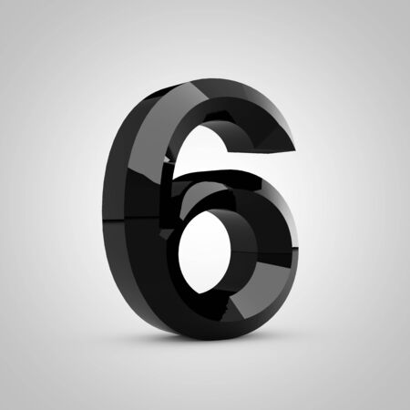 Black number 6. Chiseled glossy font isolated on white. 3d rendered alphabet.