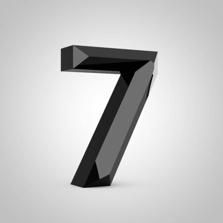 Black number 7. Chiseled glossy font isolated on white. 3d rendered alphabet.
