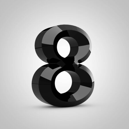 Black number 8. Chiseled glossy font isolated on white. 3d rendered alphabet.