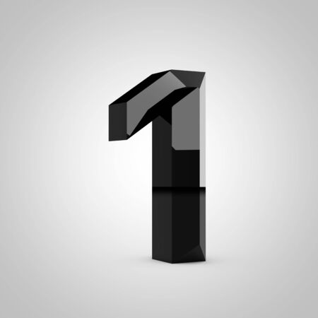 Black number 1. Chiseled glossy font isolated on white. 3d rendered alphabet.