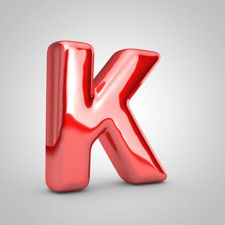 Red shiny metallic balloon letter K uppercase isolated on white background. 3D rendered illustration.