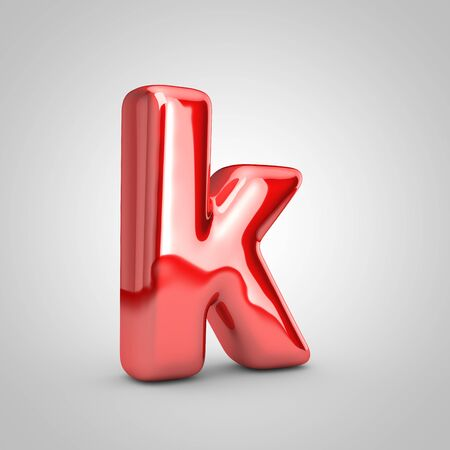 Red shiny metallic balloon letter K lowercase isolated on white background. 3D rendered illustration.