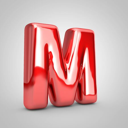 Red shiny metallic balloon letter M uppercase isolated on white background. 3D rendered illustration. Reklamní fotografie