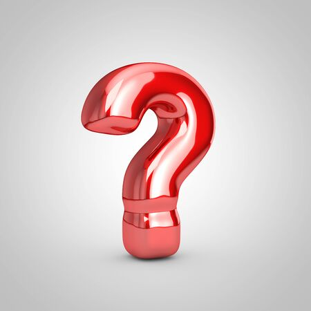 Red shiny metallic balloon question symbol isolated on white background. 3D rendered illustration.