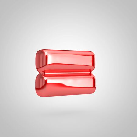 Red shiny metallic balloon equals symbol isolated on white background. 3D rendered illustration. 写真素材