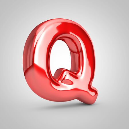 Red shiny metallic balloon letter Q uppercase isolated on white background. 3D rendered illustration.
