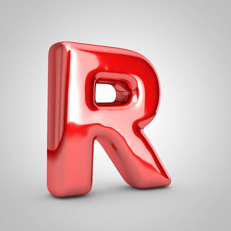 Red shiny metallic balloon letter R uppercase isolated on white background. 3D rendered illustration. Imagens