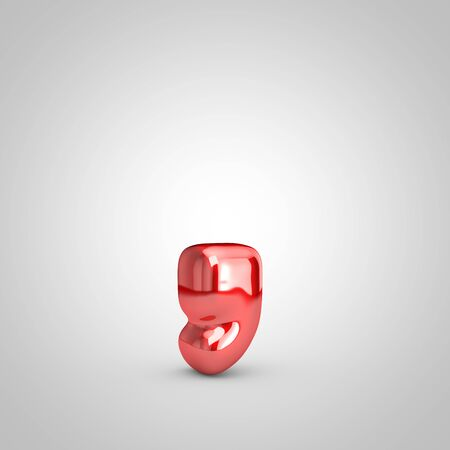 Red shiny metallic balloon coma symbol isolated on white background. 3D rendered illustration. 写真素材