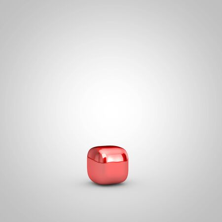 Red shiny metallic balloon point symbol isolated on white background. 3D rendered illustration.