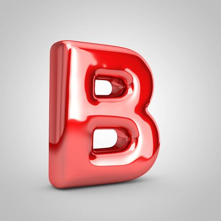 Red shiny metallic balloon letter B uppercase isolated on white background. 3D rendered illustration.