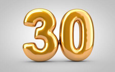 Golden metallic balloon number 30 isolated on white background. 3D rendered illustration. Best for anniversary, birthday, new year celebration. Foto de archivo