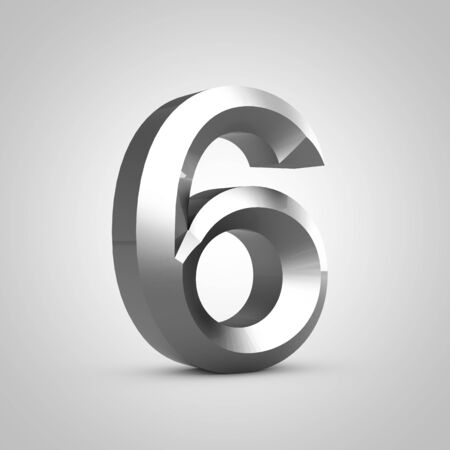 Metal number 6. Chiseled font isolated on white. 3d rendered alphabet.