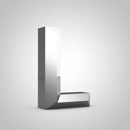 Metal letter L uppercase. Chiseled font isolated on white. 3d rendered alphabet.