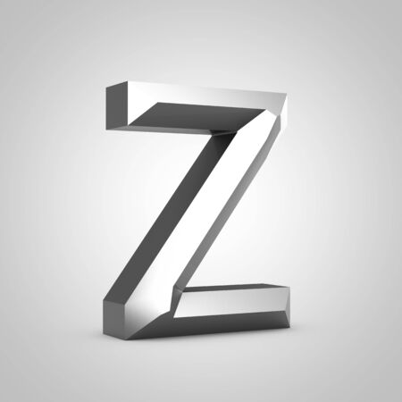 Metal letter Z uppercase. Chiseled font isolated on white. 3d rendered alphabet.