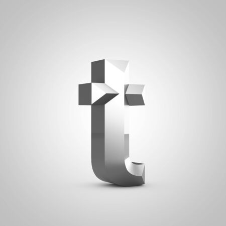 Metal letter T lowercase. Chiseled font isolated on white. 3d rendered alphabet.