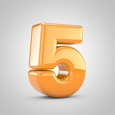 Orange 3d number 5 isolated on white background. Shiny glossy font. Archivio Fotografico - 132247267