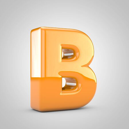 Orange 3d letter B uppercase isolated on white background. Shiny glossy font.