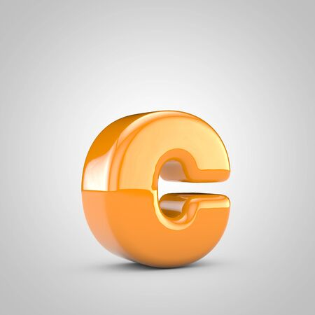 Orange 3d letter C lowercase isolated on white background. Shiny glossy font.