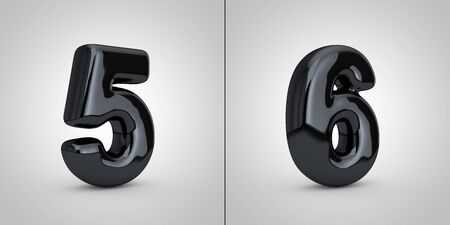 Black alphabet numbers 5 and 6 isolated on white background. 3D rendered glossy black font.