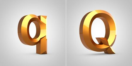 Gold 3d letter Q isolated on white background. Rendered metallic chiseled font.
