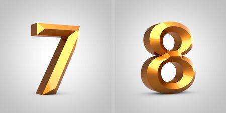 Gold 3d numbers 7 and 8 isolated on white background. Rendered metallic chiseled font.