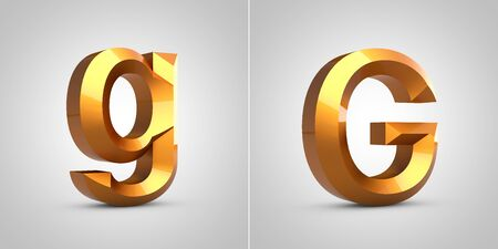 Gold 3d letter G isolated on white background. Rendered metallic chiseled font.
