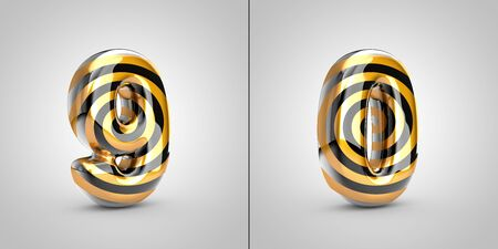 Black with gold spiral pattern numbers 9 and 0 isolated on black background. 3d rendered alphabet font. Stockfoto
