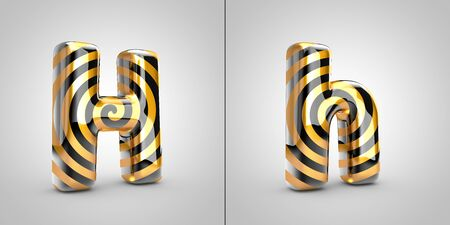 Black with gold spiral pattern letter H isolated on black background. 3d rendered alphabet font.