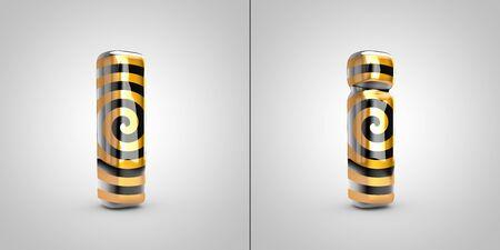 Black with gold spiral pattern letter I isolated on black background. 3d rendered alphabet font. Banco de Imagens