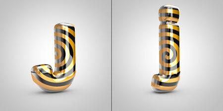 Black with gold spiral pattern letter J isolated on black background. 3d rendered alphabet font.