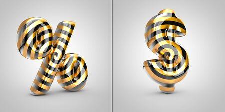 Black with gold spiral pattern percent and dollar symbols isolated on black background. 3d rendered alphabet font. Banco de Imagens