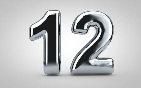 Número de globo cromado 12 aislado sobre fondo blanco. Ilustración 3D prestados. Ideal para aniversario, cumpleaños, celebración de año nuevo.