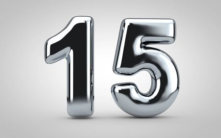 Chrome balloon number 15 isolated on white background. 3D rendered illustration. Best for anniversary, birthday, new year celebration. Stock Photo