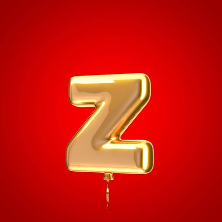 Gold balloon font letter Z lowercase. 3D rendered alphabet isolated on red background. Best for anniversary, birthday party, celebration.