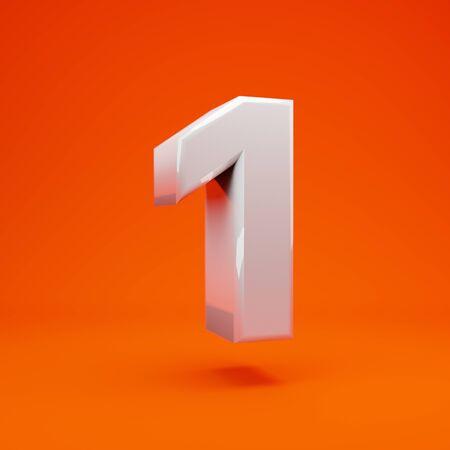 Whithe glanzende 3d nummer 1 op hete oranje achtergrond. Beste voor verjaardag, verjaardagsfeestje, feest. Stockfoto