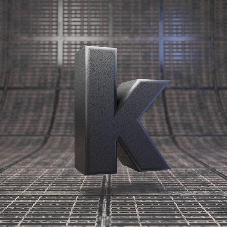 Black letter K lowercase. DLSR camera body plastic texture alphabet on metal floor. 3D rendered high technology font. Stock fotó