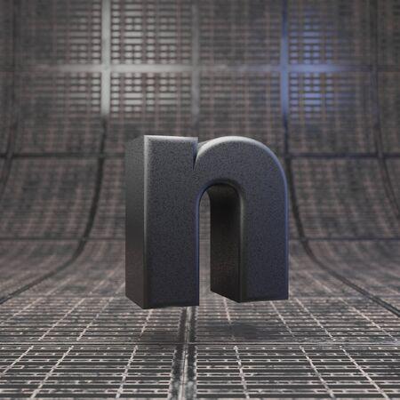 Black letter N lowercase. DLSR camera body plastic texture alphabet on metal floor. 3D rendered high technology font. Standard-Bild