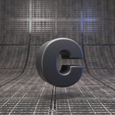 Black letter C lowercase. DLSR camera body plastic texture alphabet on metal floor. 3D rendered high technology font.