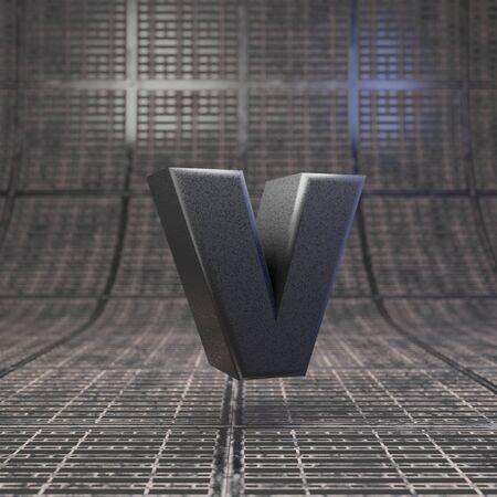 Black letter V lowercase. DLSR camera body plastic texture alphabet on metal floor. 3D rendered high technology font.