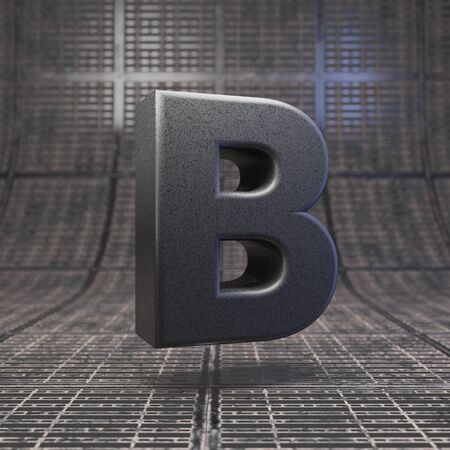 Black letter B uppercase. DLSR camera body plastic texture alphabet on metal floor. 3D rendered high technology font.