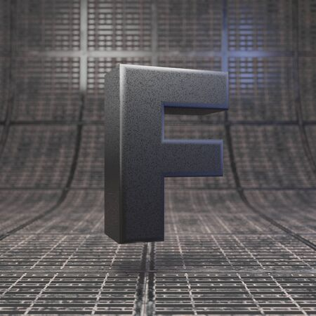 Black letter F uppercase. DLSR camera body plastic texture alphabet on metal floor. 3D rendered high technology font.
