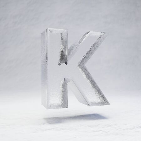 Ice letter K uppercase. 3D rendered alphabet on white snow background. Best for winter sports banners, cocktail bars, ice exhibition advertising.